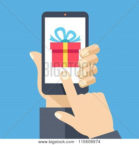 Gift app on smartphone screen. Creative flat design vector illustration