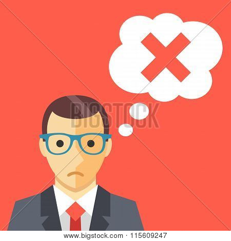 Sad man and thought bubble with cross mark flat illustration