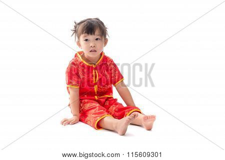 Cute Asian Baby Girl In Traditional Chinese Suit Isolated On White Background