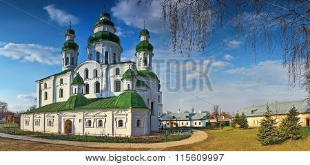 Panoramic view of the Dormition (Uspensky) Cathedral of Eletsky Women's monastery