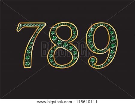 7 8 And 9 In Emerald Jeweled Font With Gold Channels