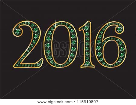 2016 Emerald Jeweled Font With Gold Channels