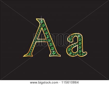 Aa In Emerald Jeweled Font With Gold Channels