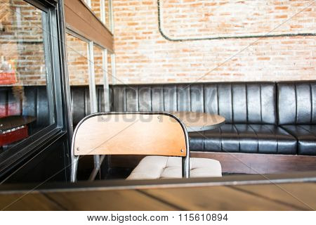 Wood Backrest Chair In Cafe Shop