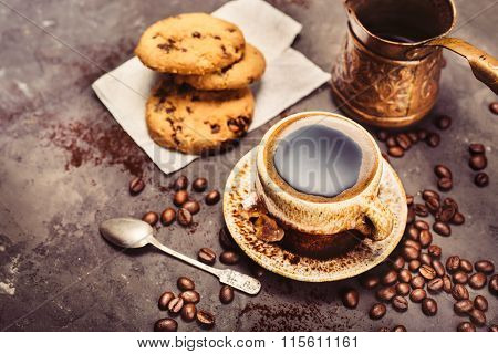 Black Coffee On A Dark Background