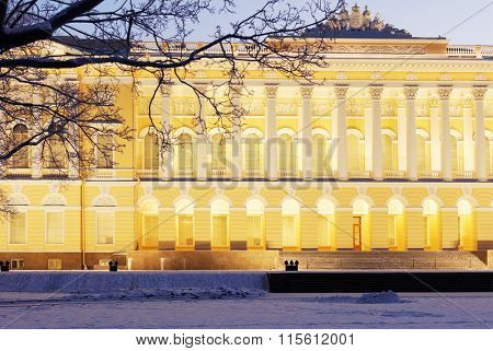 ST. PETERSBURG, RUSSIA - JANUARY 8, 2016: Northern facade of Mikhailovsky palace. Built in 1819-1825 by design of Carlo Rossi, the palace houses the Russian Museum since 1895