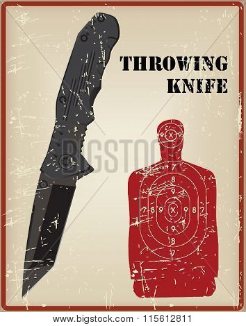 Tactical Knife, And A Target For Throwing Knife
