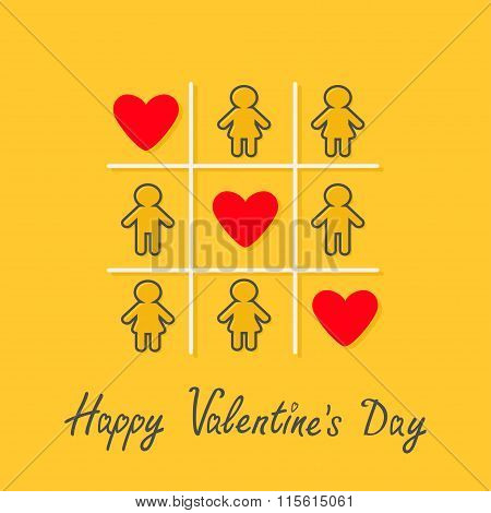 Happy Valentines Day. Love Card. Man Woman Contour Line Icon Tic Tac Toe Game. Three Red Heart Sign