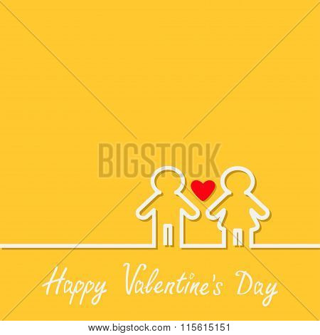Happy Valentines Day. Love Card. Man And Woman White Contour Line Icon Symbol Yellow Background Red