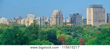 Toronto city skyline view with park and urban buildings