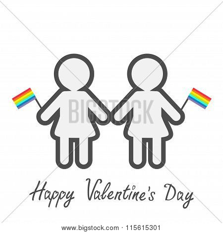 Happy Valentines Day. Love Card. Gay Marriage Pride Symbol Two Contour Women With Rainbow Flags Lgbt