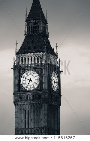 Big Ben closeup in black and white in Westminster, London.