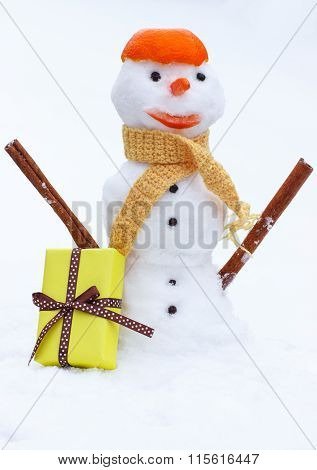 Snowman With Woolen Scarf And Tangerine Peel, Gift For Valentines Day