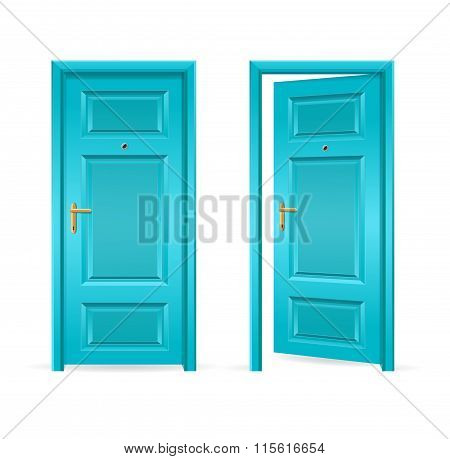 Blue Door Open and Closed. Vector
