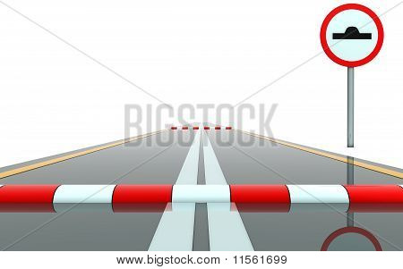 Road with sign and roadblock