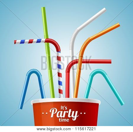 Drinking Straws and Cup Party Placard or Flyer. Vector