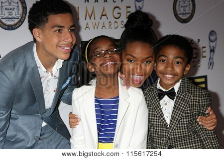 LOS ANGELES - JAN 23:  Marcus Scribner, Marsai Martin, Yara Shahidi, Miles Brown at the 47th NAACP Image Awards Nominees Luncheon at the Beverly Hilton Hotel on January 23, 2016 in Beverly Hills, CA