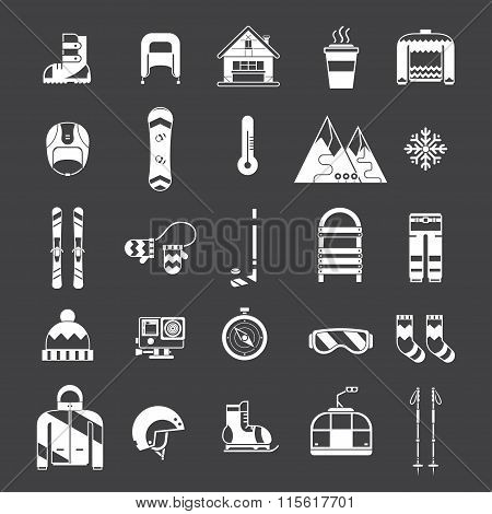 Winter Activity And Fun Outline Icon Set