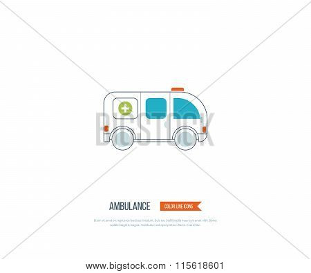 Ambulance car icon in flat design style