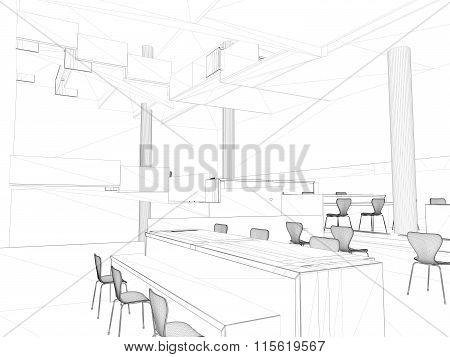 Perspective 3D render of interior wireframe. blueprint background (my own design)