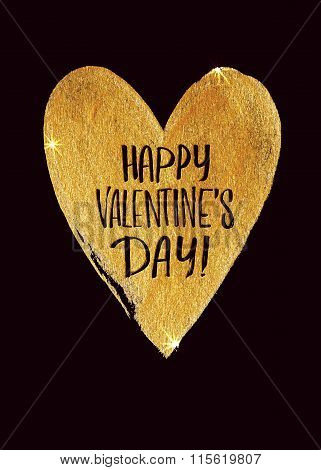 Happy Valentines Day Golden Heart With Calligraphic Inscription Inside On A Black Background