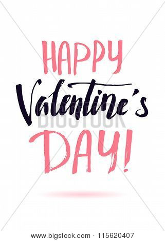Happy Valentines Day. Calligraphy, Lettering, Black And Pink Words