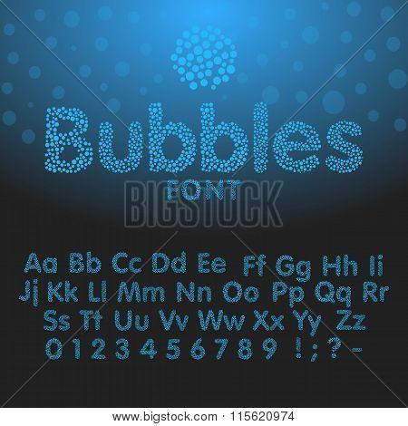 Alphabet letters consisting of blue bubbles