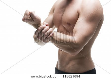Pain In The Hand. Muscular Male Body. Isolated On White Background