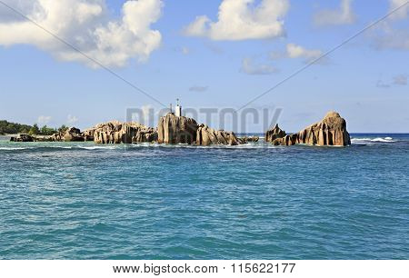 Huge granite boulders near Praslin Island in Indian Ocean.