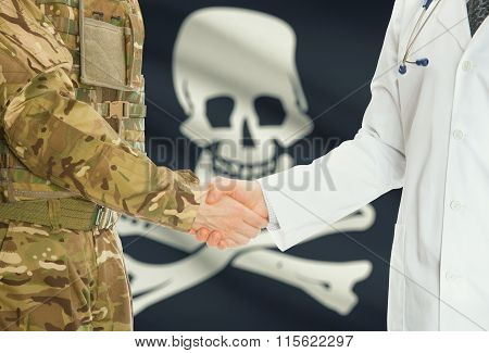 Military Man In Uniform And Doctor Shaking Hands With Flag On Background - Jolly Roger - Symbol Of P