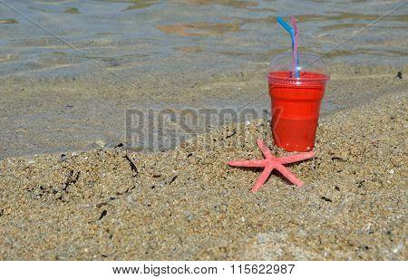 Ice Coffee To Go On Beach