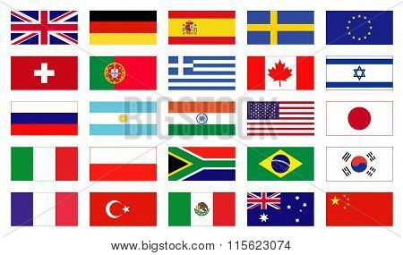 Vector flags of the world.