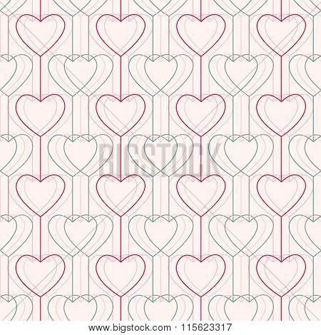 Seamless pattern. Hearts and lines. Geometric.