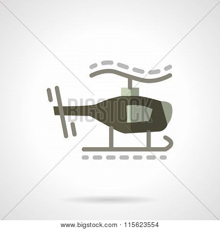 Military robots flat vector icon. Helicopter