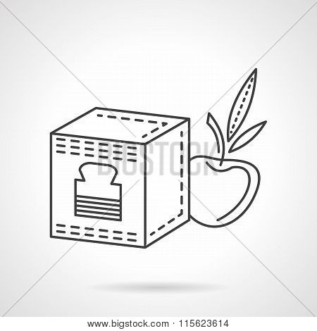 Baby food flat line vector icon. Fruit puree