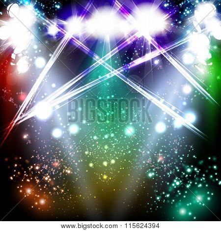 banner neon light stage background