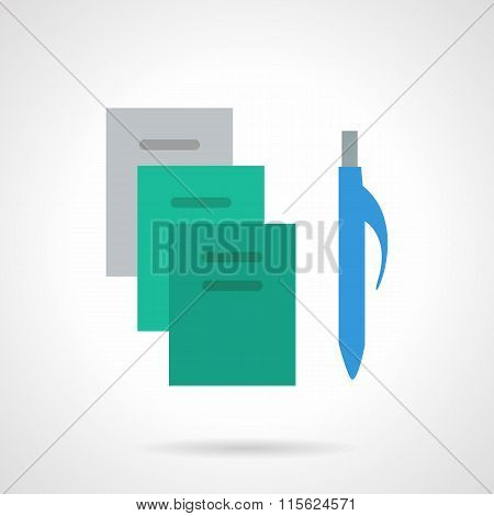 School supplies flat color vector icon. Copybooks