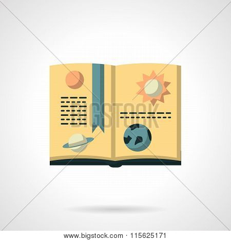 Book on astronomy flat color vector icon