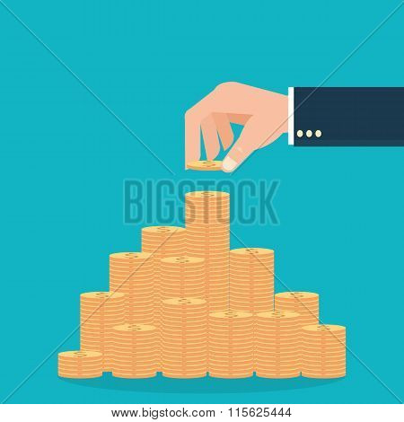 Human Hands Holding Coins And Build Coin Graph.