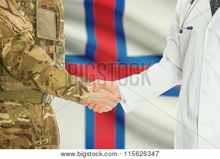 Military Man In Uniform And Doctor Shaking Hands With National Flag On Background - Faroe Islands