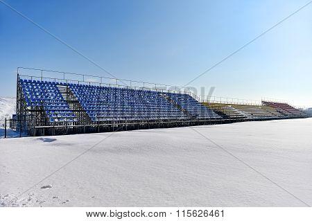 Football Stadium After Heavy Snowfall