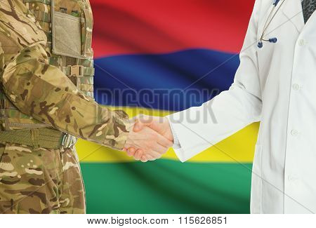 Military Man In Uniform And Doctor Shaking Hands With National Flag On Background - Mauritius