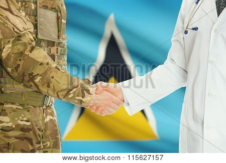 Military Man In Uniform And Doctor Shaking Hands With National Flag On Background - Saint Lucia