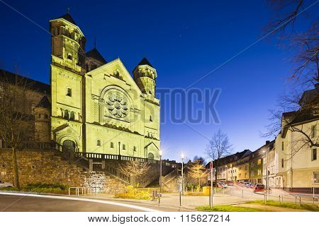 Herz-jesu Church In Aachen, Germany At Night
