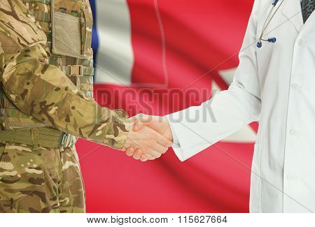 Military Man In Uniform And Doctor Shaking Hands With National Flag On Background - Wallis And Futun
