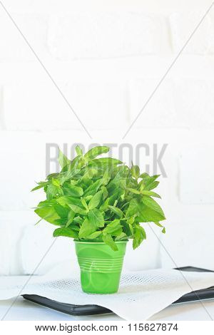 Bunch Of Mint In A Green Glass