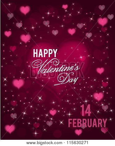 Happy Valentines Day greeting background with hearts and sparkels . Vector.