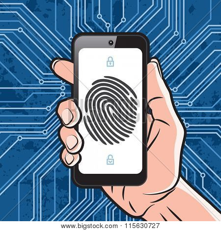 Smartphone in Hand with black finger print on white screen and electronics scheme background. Elements of identification systems, security conception, apps icons. Vector illustration.