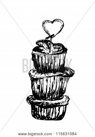 Dessert pinnacle of the three sponge cakes with powdered sugar sketch hand drawn vector illustra