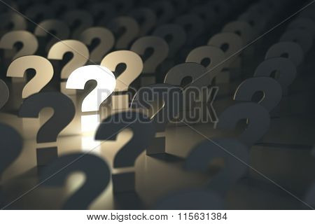 Question marks. Idea or problem concept. 3d